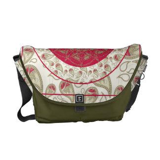 Paisley Mandala pattern background red grey white Messenger Bag