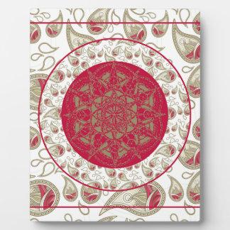 Paisley Mandala pattern background red grey white Plaque