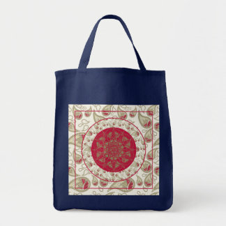 Paisley Mandala pattern background red grey white Tote Bag