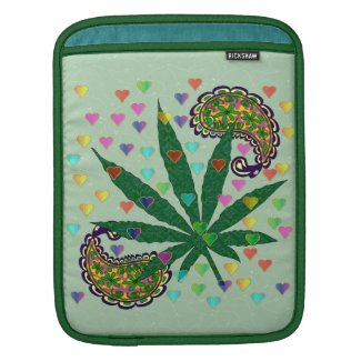 Paisley Marijuana Leaf Art iPad Sleeve