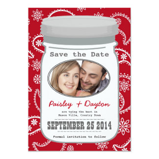 Paisley Mason Jar Photo Save the Date 5x7 Paper Invitation Card