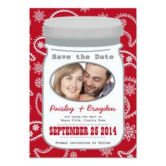 Paisley Mason Jar Photo Southern Save the Date 5x7 Paper Invitation Card