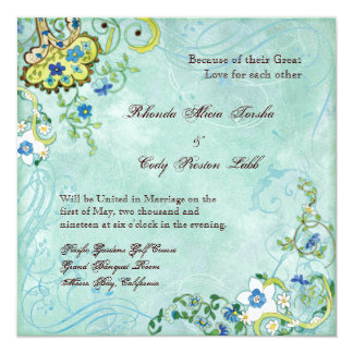 Paisley Modern Floral Flourish Swirl Wedding Custom Invitations