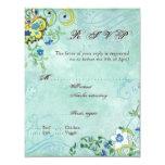 "Paisley Modern Floral Flourish Swirl Wedding 4.25"" X 5.5"" Invitation Card"