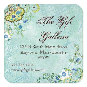 Professional Business Paisley Modern Floral Flourish Swirl Wedding Square Sticker