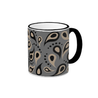 Paisley moderna de color topo y gris taza de dos colores