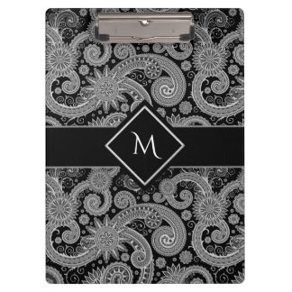 Paisley Monochrome with Framed Initial Clipboard