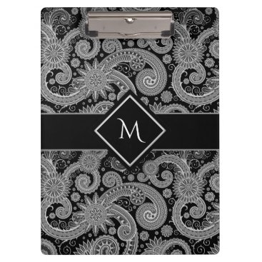 karlajkitty Paisley Monochrome with Framed Initial Clipboard