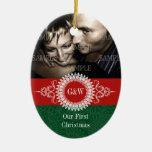 Paisley Monogram First Christmas Ornament