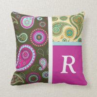 Paisley Monogram Throw Pillow