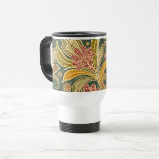 Paisley Motif, Paisley Pattern - Green Yellow Red Travel Mug