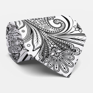 Paisley negra elegante en el fondo blanco corbatas