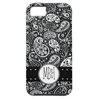 Paisley negra moderna con la personalización iPhone 5 Case-Mate cárcasas