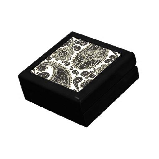 Paisley negra y beige cajas de joyas