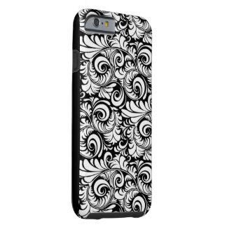 Paisley negra y blanca funda para iPhone 6 tough