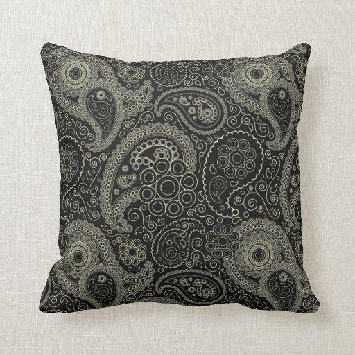 Paisley negra y poner crema almohadas