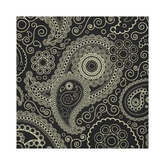 Paisley negra y poner crema lienzo envuelto para galerías