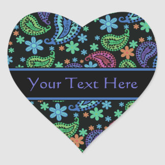 Paisley on Black Heart Sticker
