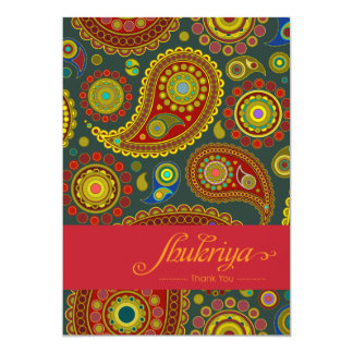 Paisley on Teal Indian Pattern Thank You Card