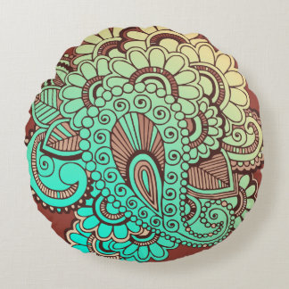 Paisley Ornaments I + your backgr. & ideas Round Pillow