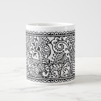 Paisley Passion - Black (Henna) Large Coffee Mug
