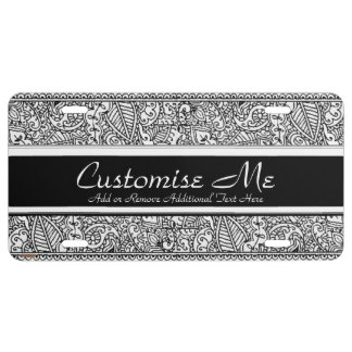 Paisley Passion - Black (Henna) License Plate