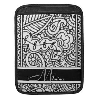 Paisley Passion - Black (Henna) Monogram iPad Sleeve