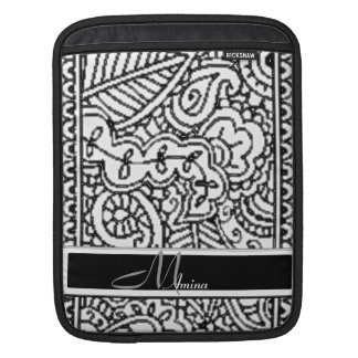 Paisley Passion - Black (Henna) Monogram Sleeve For iPads