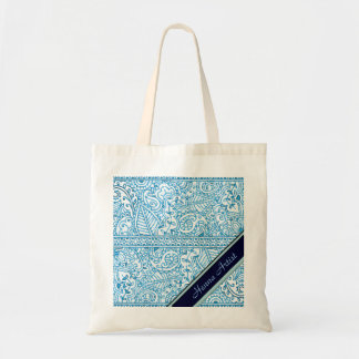 Paisley Passion - Blue (Henna) Canvas Bags
