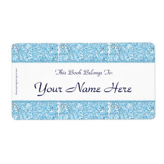 Paisley Passion - Blue (Henna) Personalized Shipping Label
