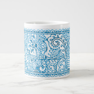 Paisley Passion - Blue (Henna) Large Coffee Mug