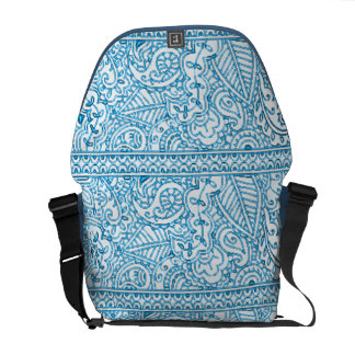 Paisley Passion - Blue (Henna) Messenger Bag