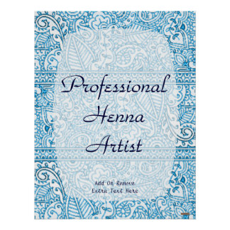 Paisley Passion - Blue (Henna) Poster
