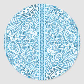 Paisley Passion - Blue (Henna) Classic Round Sticker