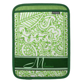 Paisley Passion - Green (Henna) Monogram iPad Sleeve