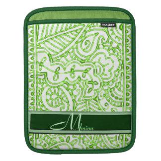 Paisley Passion - Green (Henna) Monogram Sleeve For iPads