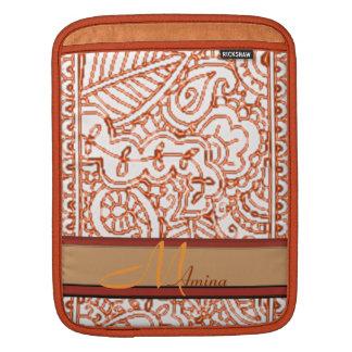 Paisley Passion - Orange (Henna) Monogram iPad Sleeve