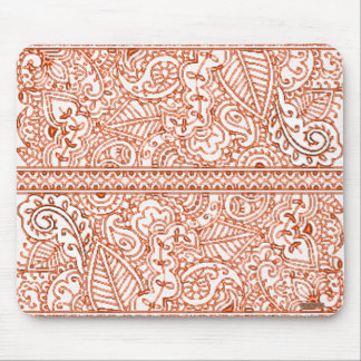 Paisley Passion - Orange (Henna) Mouse Pads