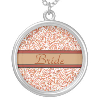 Paisley Passion - Orange (Henna) (Wedding) Silver Plated Necklace
