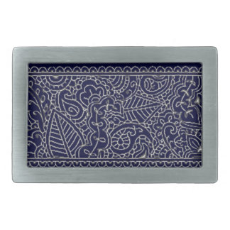 Paisley Passion - Silver Effect (Henna) Rectangular Belt Buckle