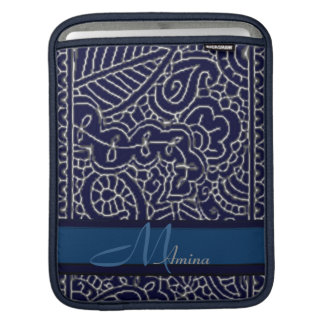 Paisley Passion - Silver effect (Henna) Monogram Sleeve For iPads