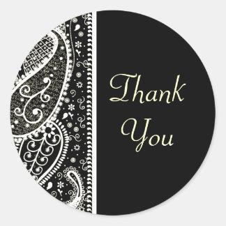 Paisley Patern Black & White Thank You Stickers