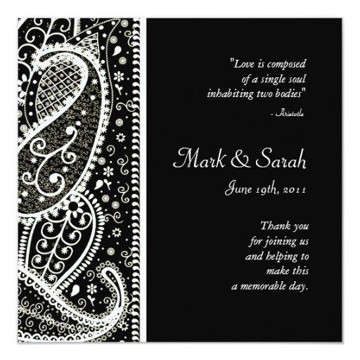 Paisley pattern Bl & Wh. Sq. Wedding Program 5.25x5.25 Square Paper Invitation Card