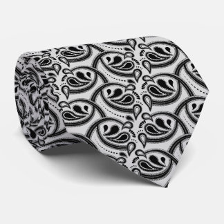 Paisley Pattern Black and Grey Tie
