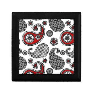 Paisley pattern, Black, White and Red Keepsake Box