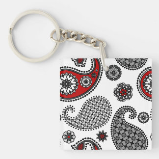 Paisley pattern, Black, White and Red Keychain