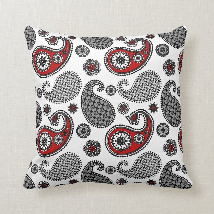 Black White And Red Throw Pillows : Paisley pattern, Black, White and Red Throw Pillow Zazzle