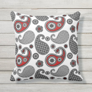paisley pattern black white and red throw pillow