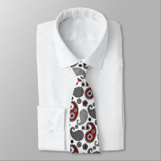 Paisley pattern, Black, White and Red Tie