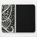 Paisley Pattern Black & White Mouse Pad